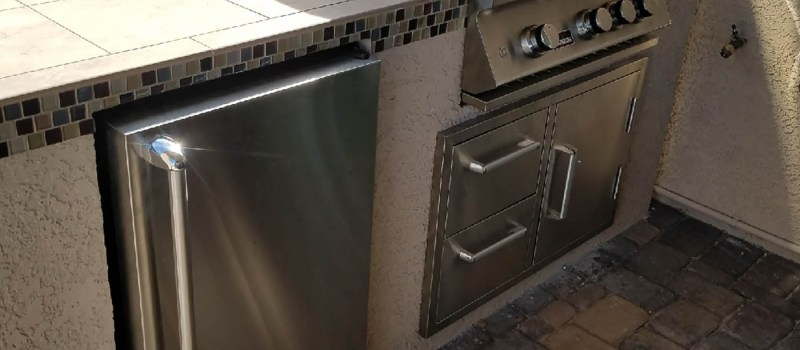 Roma Beige Counter-top Tile with Matched Mosaic Glass Tile from Pool - Blaze Refrigerator Unit with Stainless Sleeve