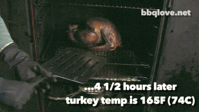 Pulling turkey out of the vertical water smoker with a big spatula 4 and a half hours later. Internal temperature is 165F (74C) front View