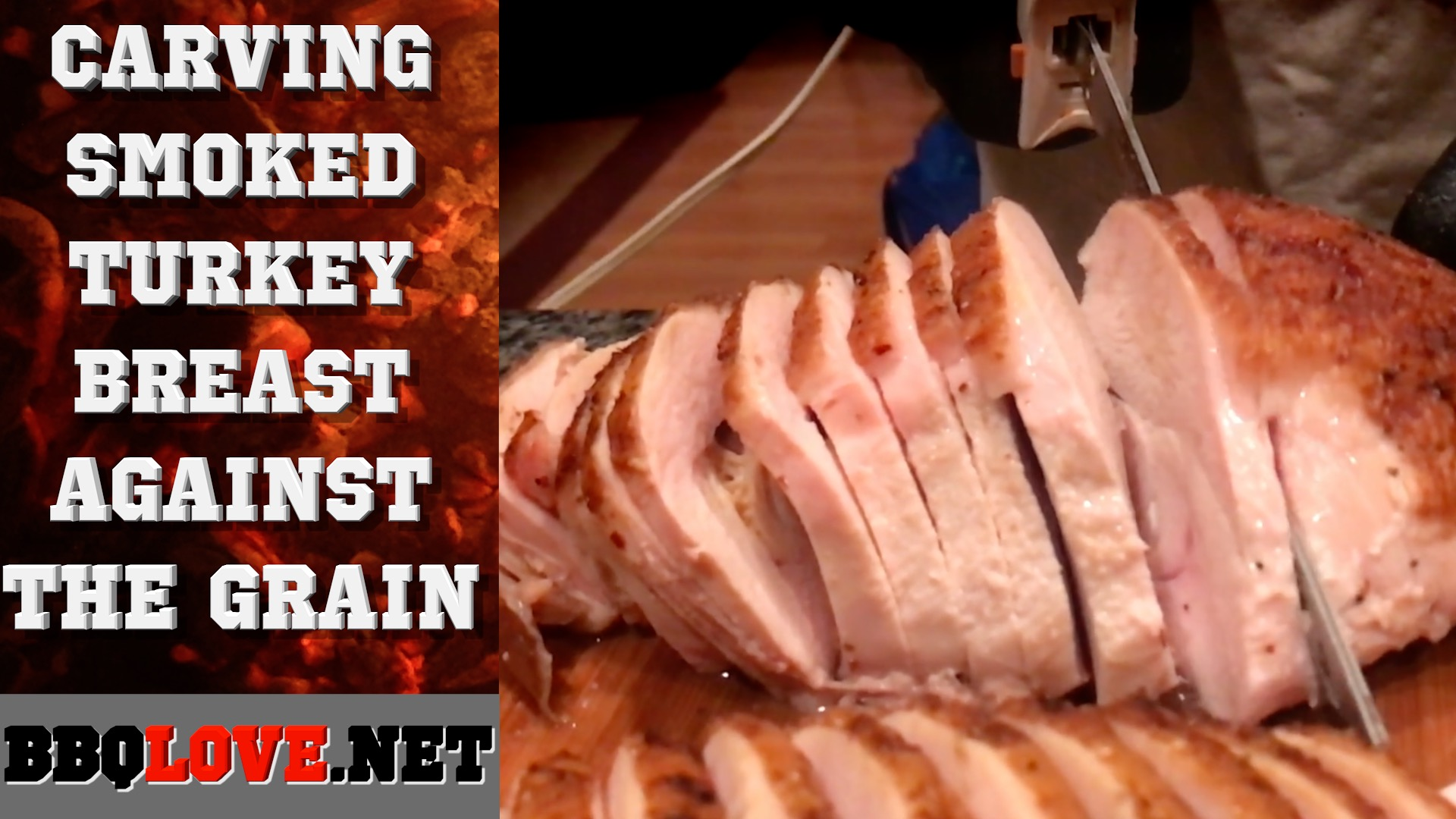Carving A Smoked Turkey Breast Against The Grain Using An Electric Knife Getting A Juicy Jiggle
