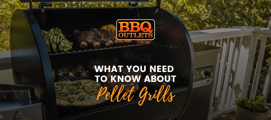 A banner image with a pellet grill open and cooking food with text over it that reads 'What You Need to Know About Pellet Grills'.