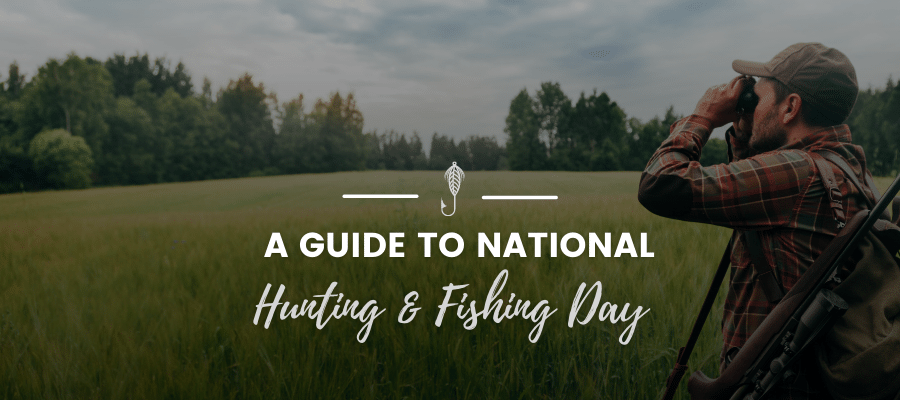 A banner with an image of a man outside peering through some binoculars while the text over the image reads, 'A Guide to National Hunting and Fishing Day'