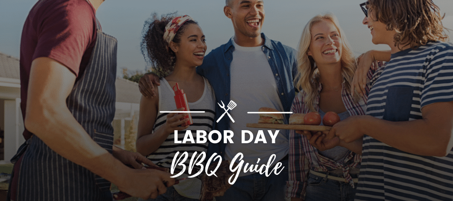 A banner that has a background image with a multicultural group of people outside laughing with text over it that says, 'Labor Day BBQ Guide'