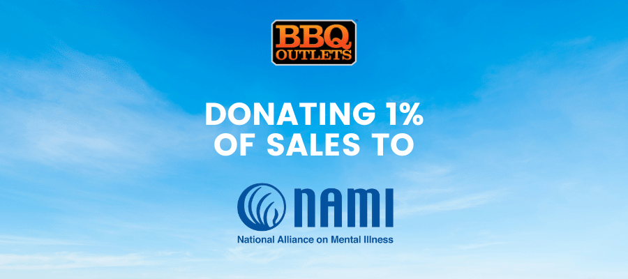 Banner announcing BBQ Outlets donating 1% of sales to NAMI for Mental Illness Awareness Week