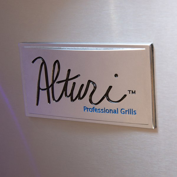 Alturi Badge on Front Panel of Grill