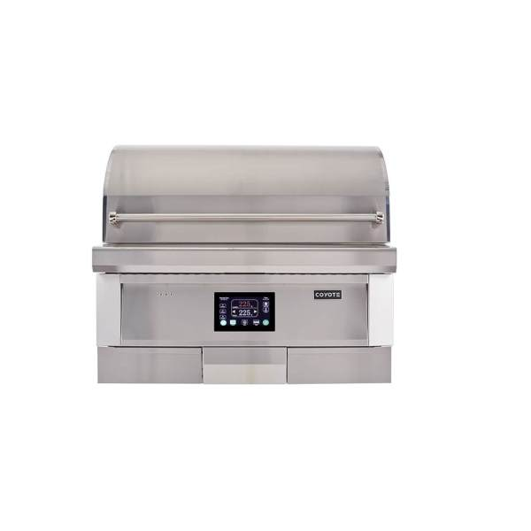 C1P36 Coyote Outdoor Living Built-in 36 Inch Pellet Grill w/ Hood Closed