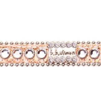 B.B.SIMON DOG Rocco Pink Leather Pet Collar