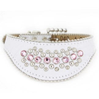 B.B.SIMON DOG Rose White Leather Dog Cat Pet Collar