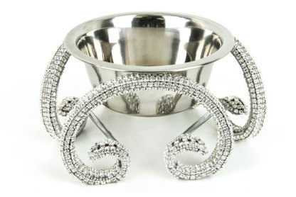DWB 118 Clear bb Simon Swarovski Crystal Dog Cat Pet Bowl