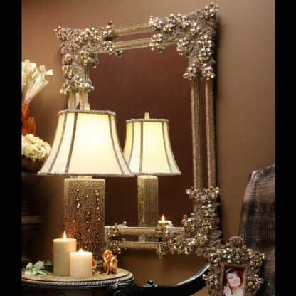M-401-GOLD BB Simon Delicate Jeweled Gold Wall Mirror