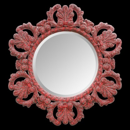 M-516 BB Simon Red Crystal Framed Mirror