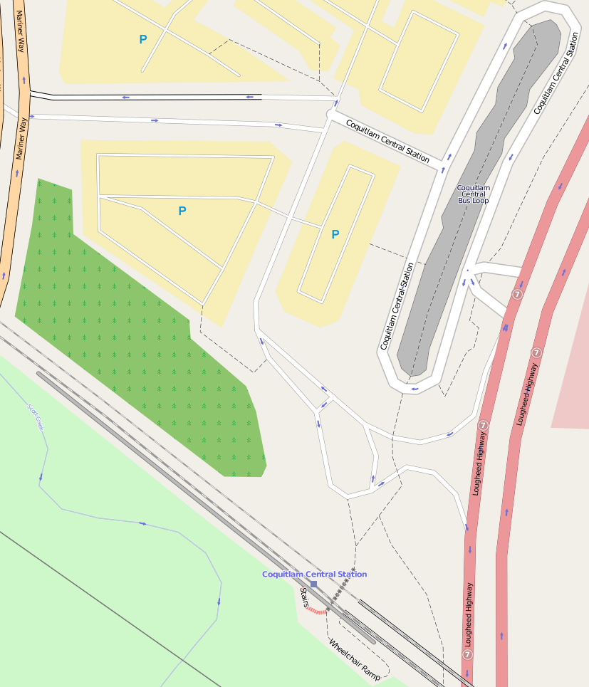 OpenStreetMap image of the Coquitlam Central Station area.