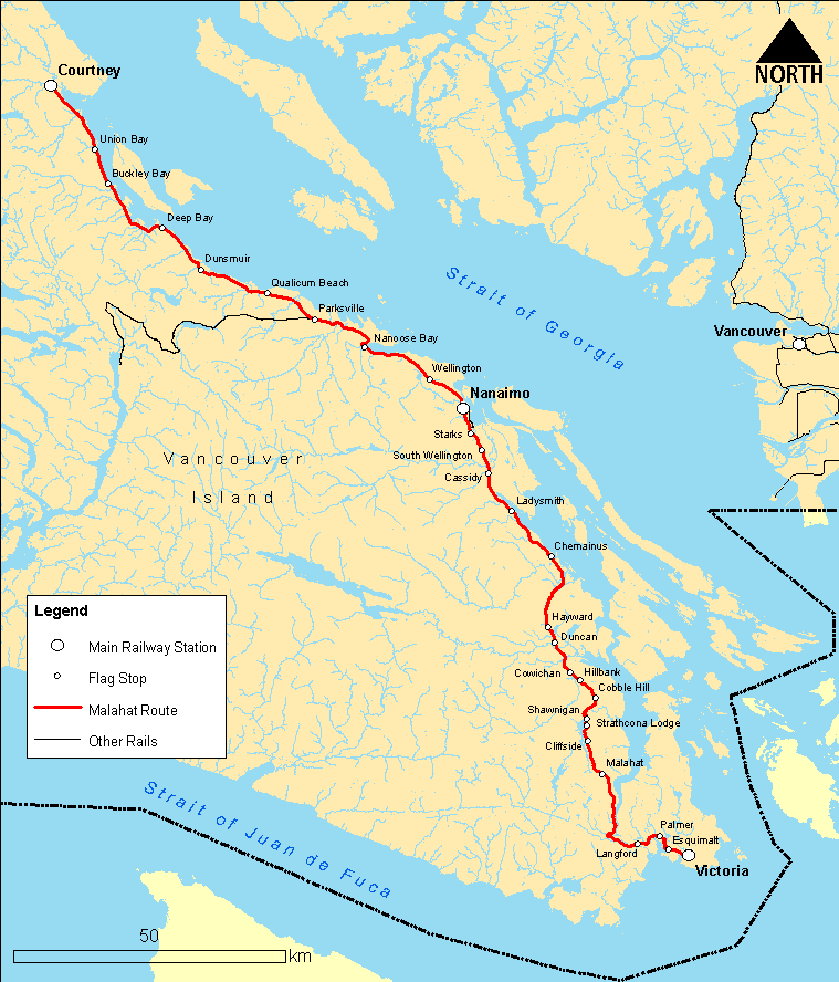 Map of Malahat train from Victoria to Courtney