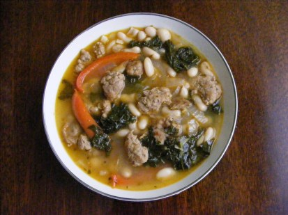 Spicy Sausage Soup with Cannellini Beans and Kale