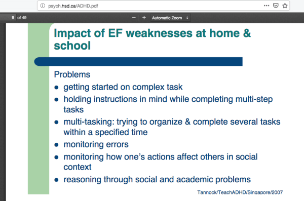 Tannock:TeachADHD:Sin g a p ore:2007 Impact of EF weaknesses at home & school Dr. Rosemary Tannock http-::psych.hsd.ca:ADHD