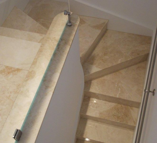 Marble stairs installed by Brompton Cross Construction