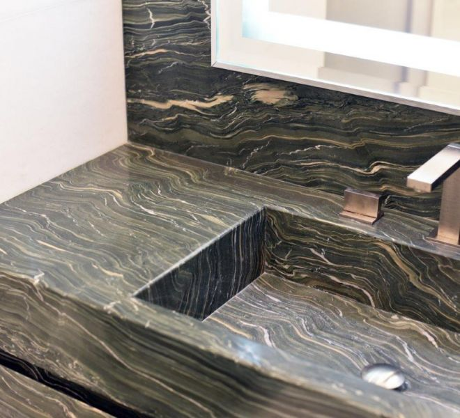 Book matched marble sink in Kensington