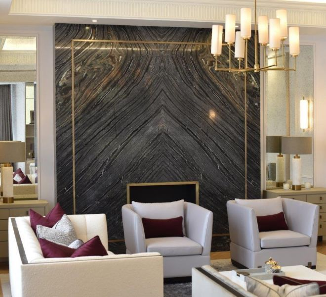 Marble and brass feature wall