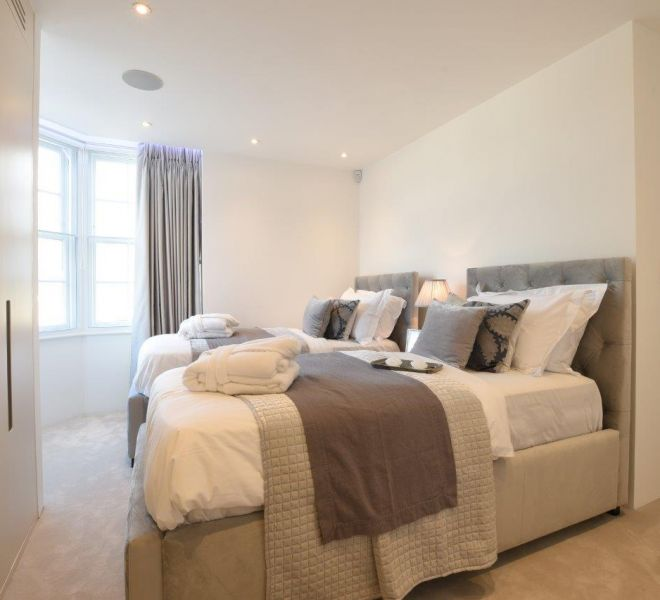 Guest twin bedroom interior design, high end turn key
