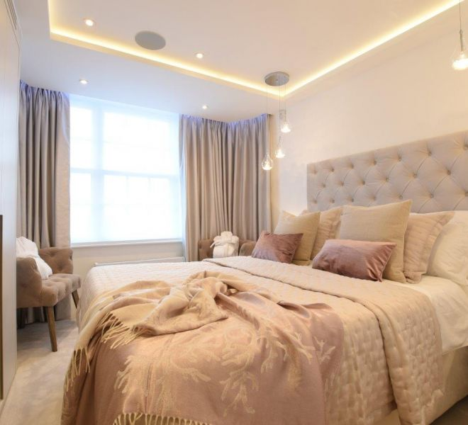 Luxury Master bedroom design by Brompton cross construction London