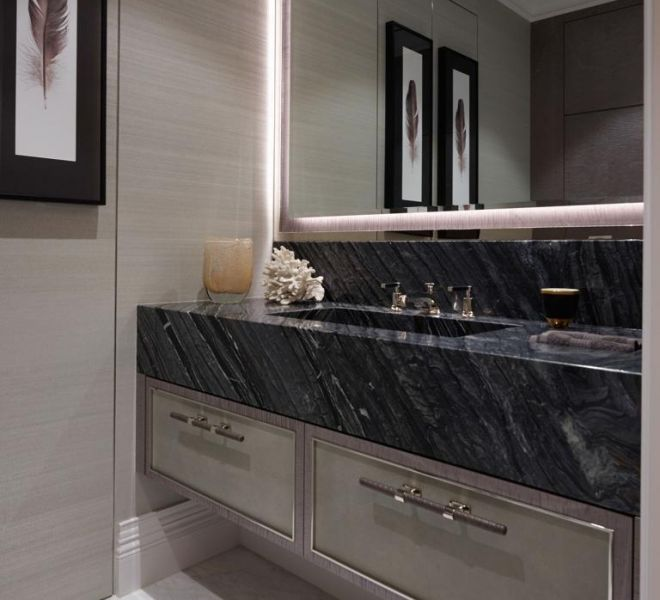 book matched marble sink in London by Brompton Cross Construction