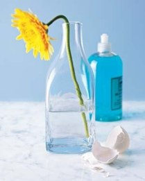 Скорлупу от сваренных вкрутую яиц можно использовать для чистки ваз и бутылок. Бросьте кусочки скорлупы внутрь, капните туда же средства для мытья посуды, добавьте немного воды и хорошенько встряхните.