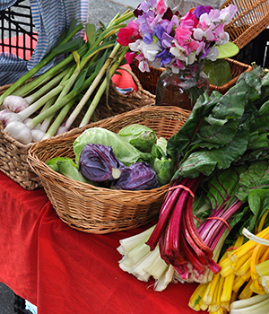 Fresh vegetables and flowers at the farmers market