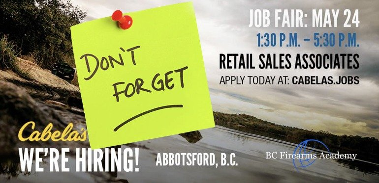 Reminder Cabela's Abbotsford is Hiring & Job Fair March 2018
