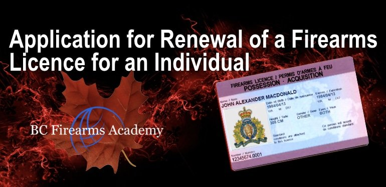 Application Form for Renewal of a  PAL / Firearms Licence for an Individual