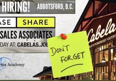 Cabela's Abbotsford JOB FAIR September 8th 12 pm – 3 pm 2018 PLEASE SHARE