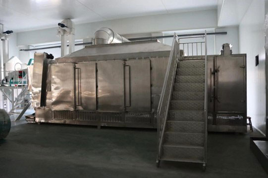 Cooling and drying equipment at BCFoods dehydration facility in Hebei, China