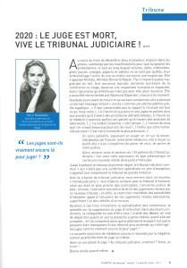 2020 - Tribune - Marie Burguburu - « 2020 : Le juge est mort, vive le tribunal judiciaire ! » - La Gazette du Palais