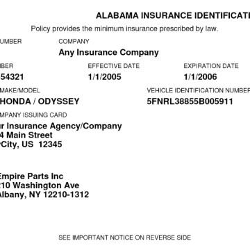 Free Fake Auto Insurance Card Template