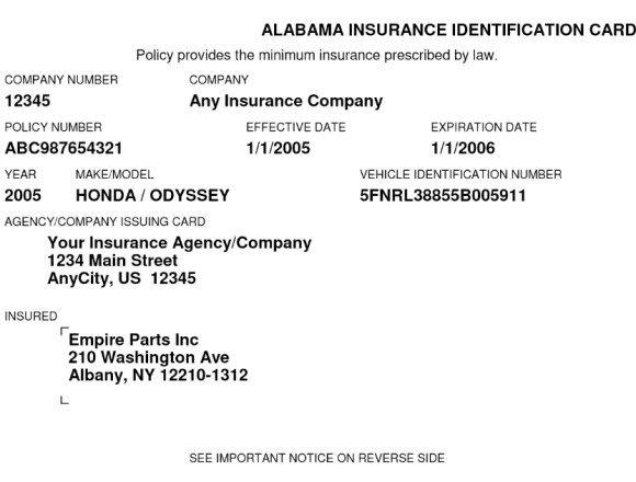 Free Fake Auto Insurance Card Template