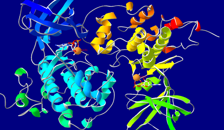 GSK-3 under normal conditions with magnesium ions.  generated in swiss PDB viewer.