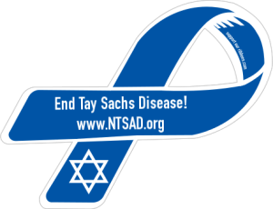 The ribbon designed by National Tay-Sachs and Allied Diseases (NTSAD) Association used to spread awareness of TSD. This association, along with many others, are vital to the funding of research and education of the public of the disease.