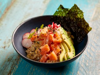 Raw Salmon 'Poke' Bowl With Brown Sushi Rice and White Miso and Ginger Dressing