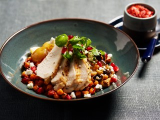 Harissa Chicken and Chickpea Bowl With Caramelised Aubergine, Crumbled Feta and Pomegranate