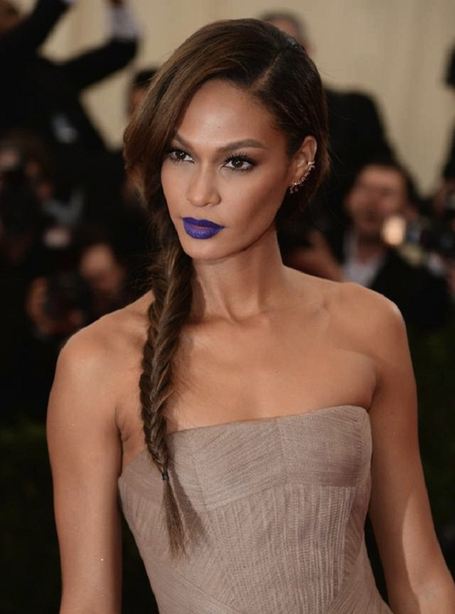 Joan-Smalls-blue-lipstick-braid-Met-Gala-2014