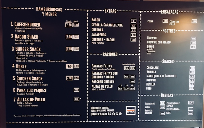 burger shack barcelona menu