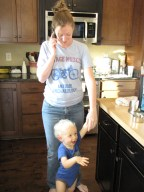 Playing with his Aunt Rachel