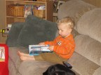 My son reading one of his new (used) books