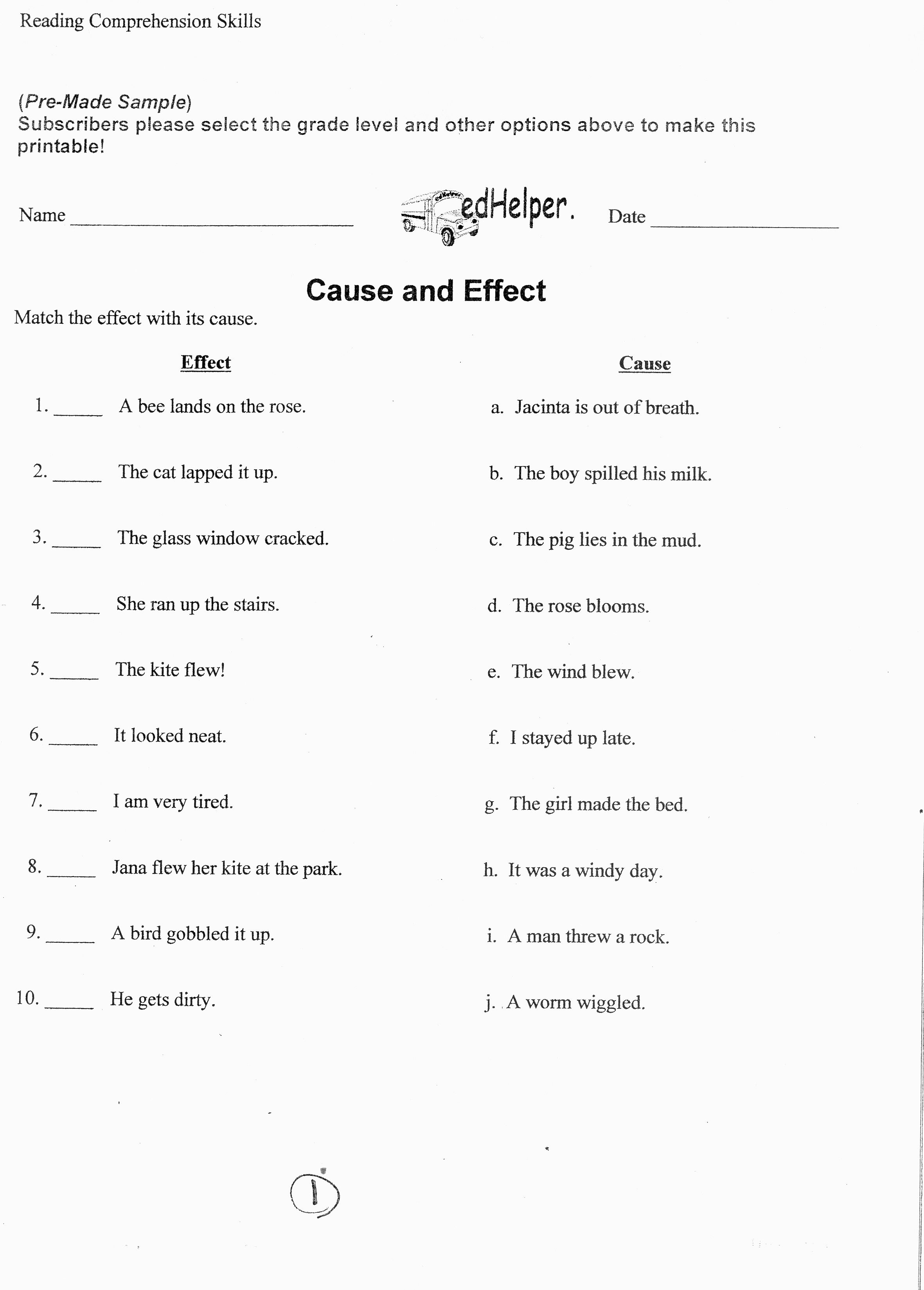Cause And Effect Worksheets 6th Grade