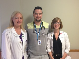 (l to r): Lisa Hegler, CET, Misty Stephens, ET, and Dejan Preradovic, Physiotherapist. Dejan was a participant in the P&I study. He says patients should do not be in the same position for long periods of time and need support to get out of bed and walk around as soon as possible.