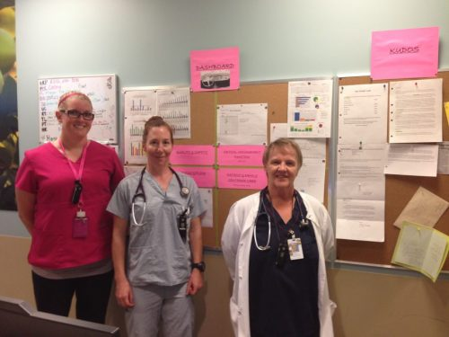 KGH Emergency Services staff: (l to r) Jessica Baskerville, Patient Care Coordinator, Dr. Jen Williams, Betty Dube, Registered Nurse