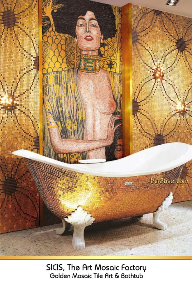 Gold Claw Foot Mosaic Tiled Bathtub & Mosaic Tiled Wall by Sicis
