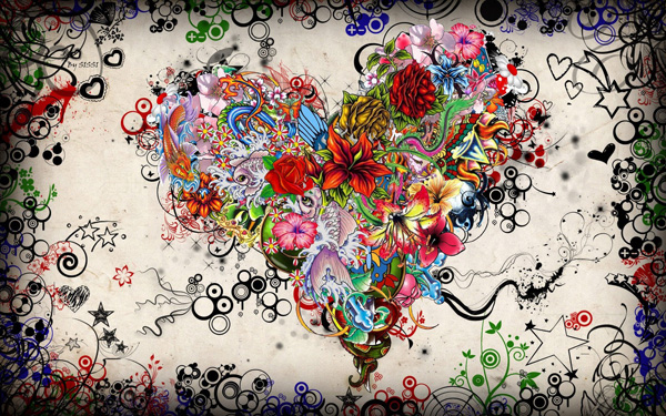 Colorful Heart of Flowers Illustration & Wallpaper