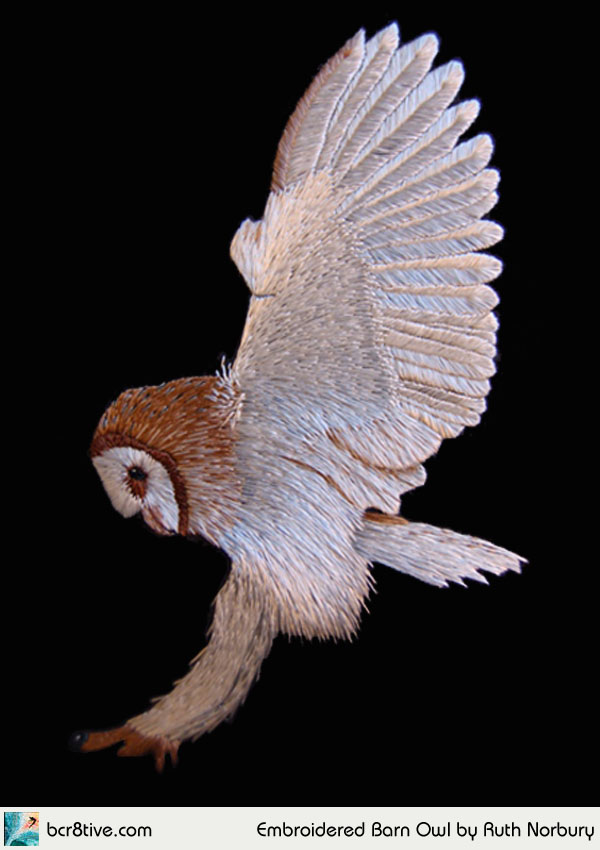 Embroidered Barn Owl by Ruth Norbury