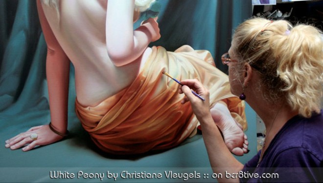 Christiane Vleugels works on the paintings of her youngest daughter, White Peony