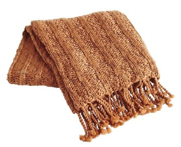 Chunky ribbed knit throw