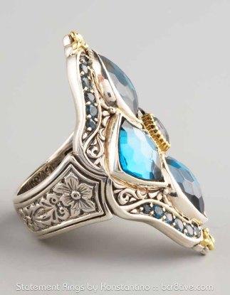 Konstantino London Blue Topaz Figure 8 Ring